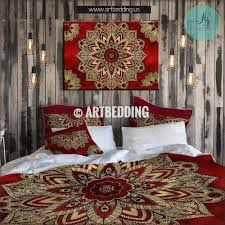 bohemian bedding cherry red and gold mandala duvet cover set