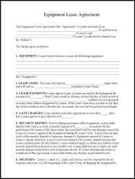download example equipment lease agreement template for free