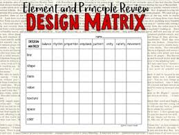 design elements matrix elements of art and principles of design review design matrix tpt