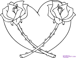 drawing of a heart and a rose knumathise rose and heart drawings