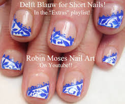 nail art for short nails diy royal blue diagonal lace nail