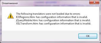 configure xp dreamweaver solved dreamweaver the following translators were not loaded due