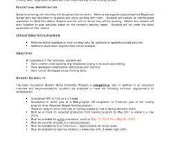 nursing student resume for internship cover letter for nursing student image collections cover letter