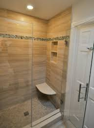 stand up shower with built in bench seat and niche bathrooms