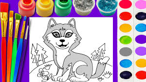 husky dog coloring page cute puppy for children to learn hand