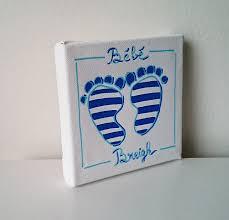 le sur pied chambre bébé tableau peinture chambre bébé breizh pieds marinière bleu blanc