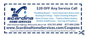 millersville plumbing coupons scardina home services plumbing hvac remodeling