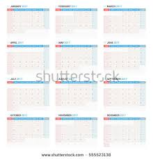 yearly wall calendar planner template 2017 stock vector 555523138