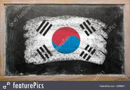 Flag Of South Korea Flags Flag Of South Korea On Blackboard Painted With Chalk