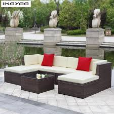 divano giardino ikayaa stati uniti stock patio divano da giardino set pouf angolo