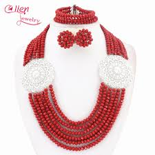 red crystal bead necklace images Buy red african beads jewelry set crystal beads jpg