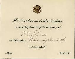 House Invitation Card Coolidge White House Invitation