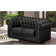 canapé cuir noir 2 places canapé 2 places chesterfield cuir noir achat vente canapé sofa