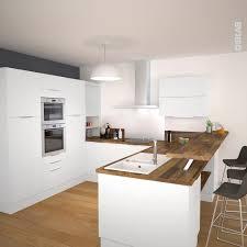cuisine blanc et cuisine blanche avec plan de travail bois style scandinave lisieux