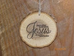 wood slice ornament rustic home decor jesus