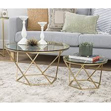 gold glass coffee table amazon com we furniture geometric glass nesting coffee tables