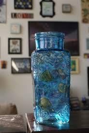 Blue Flower Vases Tall Vase Decorative Vase Rustic Vase Rustic Flower Vase Glass