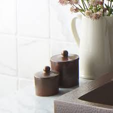 Copper Kitchen Canisters Bathroom Vanity Cotton Ball U0026 Swab Holder Native Trails