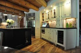 Log Cabin Kitchen Ideas Astonishing Kitchen Design Showcasingshaped White Finish For Log