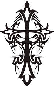 black tribal cross design