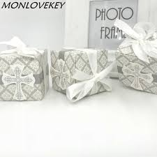 favor ribbons 50 pack cross candy favor box christening baby shower wedding