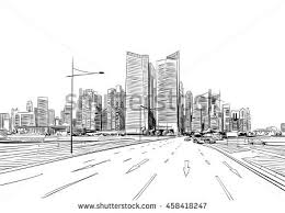 singapore unusual perspective hand drawn sketch stock vector