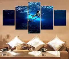 surfing canvas prints promotion shop for promotional surfing 5 panels hd painting canvas prints on canvas landscape painting surf girl room bedroom home decor gift