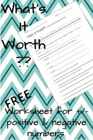 free worksheet for adding u0026 subtracting positive and negative