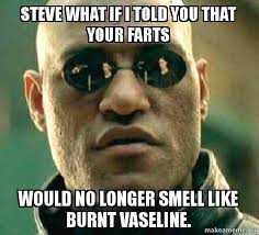 Vaseline Meme - steve what if i told you that your farts would no longer smell like