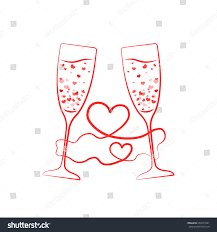 clinking glasses emoji champagne glass hearts red ribbon concept stock vector 559571641