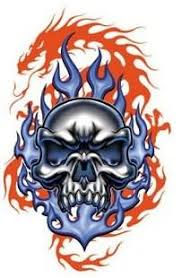 tribal flaming skull tattoos design