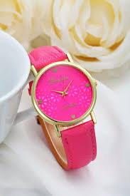 pink bracelet watches images Flower watch hot pink leather watch pretty leather watch jpg