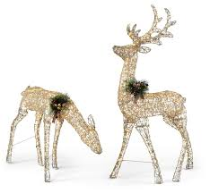 Outdoor Christmas Decorations Reindeer And Sleigh Lighted Outdoor Deer For Christmas Decorations My Web Value