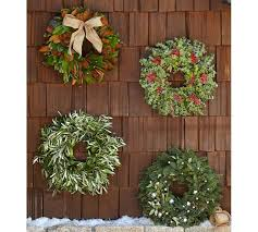 Live Decorated Christmas Wreaths by Live Holiday Eucalyptus U0026 Berry Wreath Pottery Barn