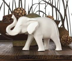 Elephant Home Decor Wholesale Small Ceramic White Elephant Sculpture With Lucky Trunk Up