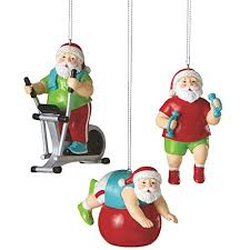 santa shaping up fitness minded ornaments set of