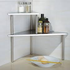 modern kitchen with 2 tier corner storage shelf stainless steel