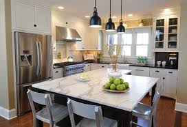 Visual Comfort Island Light Calcutta Marble Kitchen Island Contemporary Kitchen Kitchen
