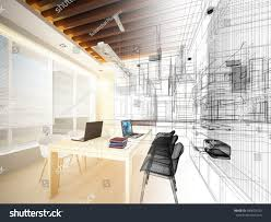 sketch design study room 3dwire frame stock illustration 640603333