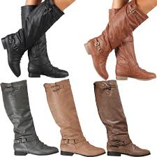 womens leather boots boots knee high fashion slouch faux leather stylish