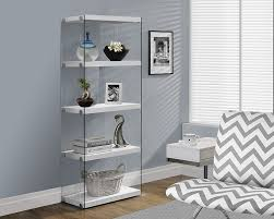 Narrow Bookcase White by Amazon Com Monarch Specialties I 3289 Glossy White With Tempered