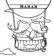 babar elephant queen celeste riding air balloon