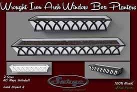 second life marketplace wrought iron arch window box planters