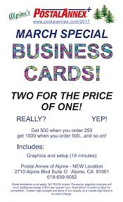 One Hour Business Cards Alpine Postal Annex March Special Business Cards Two For The