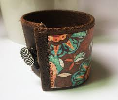 suzani floral bracelet vegan leather cuff bracelet brown boho