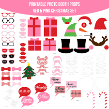 instant download christmas pink printable photo booth prop set