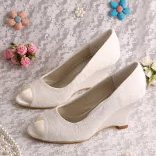 wedding shoes wedges wedopus mw1009 women wedge heel peep toe slip on lace wedding