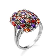 color stone rings images Cocktail jewelry oval shaped cz multi stone rings silver tone jpg