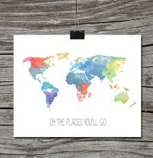 world map travel quote poster watercolor oh the places