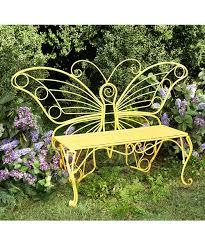 plow u0026 hearth yellow butterfly garden bench zulily
